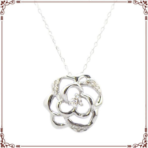 K18ホワイトゴールド バラモチーフ ネックレス【P1596CH】◆最高級ダイヤモンドジュエリー◆