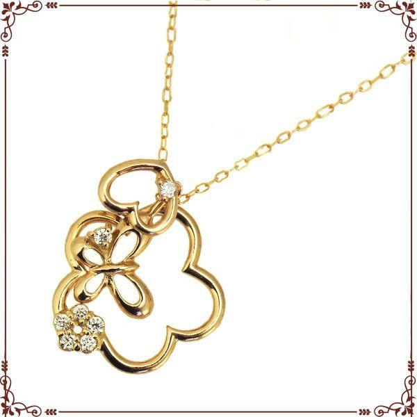 ◆最高級ダイヤモンドジュエリー◆ K18ピンクゴールド 花&ハート&パピヨンモチーフ ネックレス【P1609CH-PG】