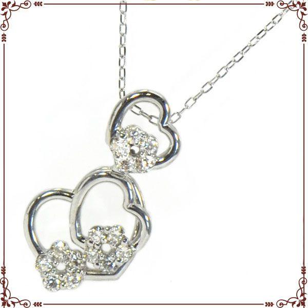 ◆最高級ダイヤモンドジュエリー◆ K18ホワイトゴールド ハートモチーフ ネックレス【P1612CH-WG】