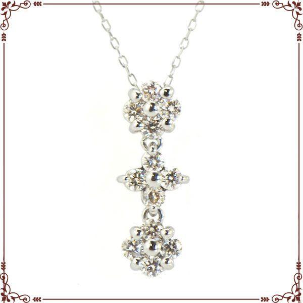 K18ホワイトゴールド 2way ハート&フラワー ネックレス【P1625CH】◆最高級ダイヤモンドジュエリー◆