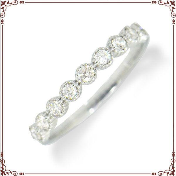 ◆最高級ダイヤモンドジュエリー◆ K18ホワイトゴールド ハーフエタニティ リング 【R1366WG】