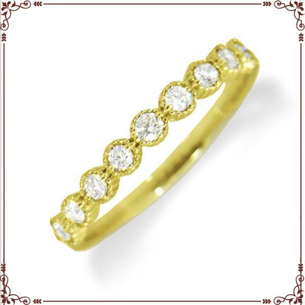 ◆最高級ダイヤモンドジュエリー◆ K18イエローゴールド ハーフエタニティ リング 【R1366YG】