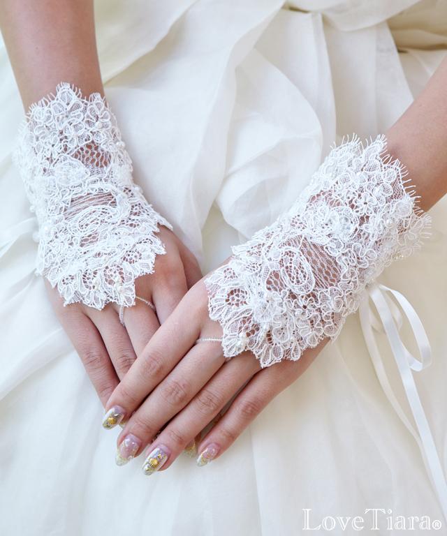 ad346a979472b フィンガーレスグローブ レーシークチュール  結婚式の手袋・グローブ ...