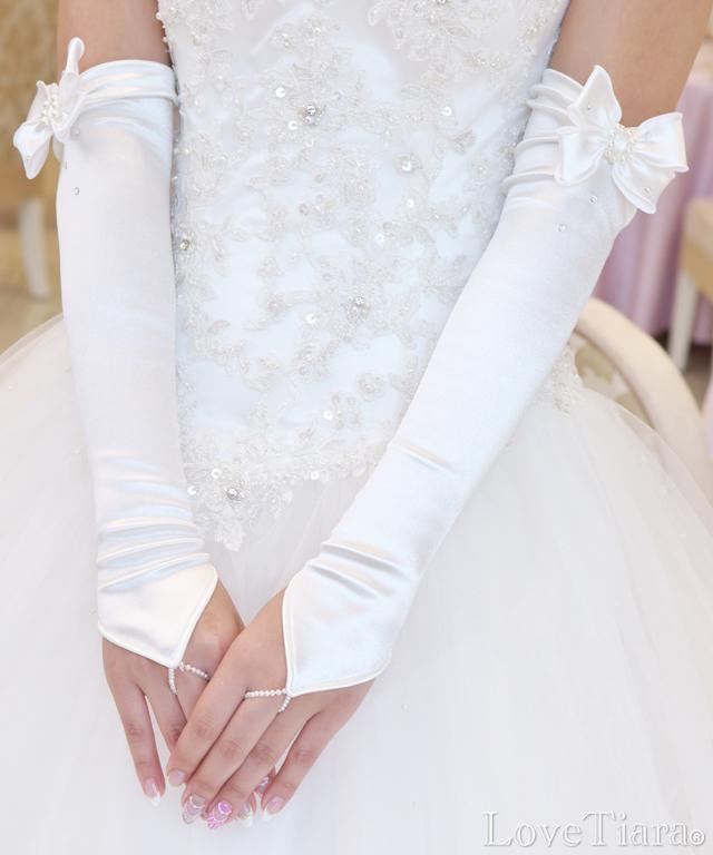 フィンガーレスグローブ サテン ウエディング 結婚式 ブライダル