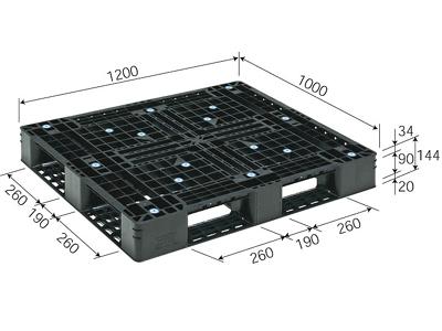プラスチックパレット D4-1012-5 再生ブラック (1200×1000) (51~100枚) 1枚単価 ≪送料無料≫