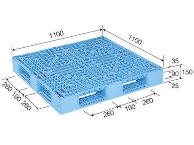 プラスチックパレット D4-1111-3 標準ブルー (1100×1100) (1~10枚) 1枚単価 ≪送料2200円≫