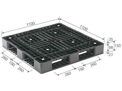 プラスチックパレット D4-1111-6N 再生ブラック (1100×1100) (1~10枚) 1枚単価 ≪送料2160円≫