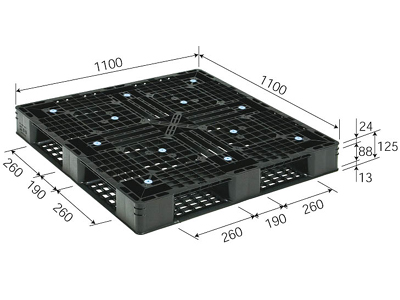 プラスチックパレット D4-1111-7 再生ブラック (1100×1100) (1~10枚) 1枚単価 ≪送料2160円≫