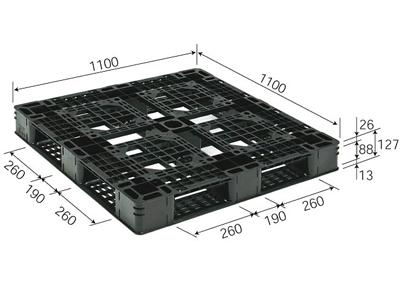 プラスチックパレット D4-1111-8 再生ブラック (1100×1100) (1~10枚) 1枚単価 ≪送料2160円≫