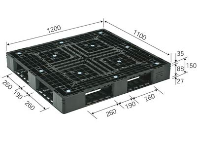プラスチックパレット D4-1112-3 再生ブラック (1200×1100) (51~100枚) 1枚単価 ≪送料無料≫