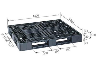 プラスチックパレット D4-1113-3 再生ブラック (1300×1100) (51~100枚) 1枚単価 ≪送料無料≫