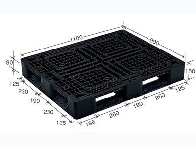 ≪アロー印刷様向け≫社名2面印刷 プラスチックパレット J-D4・1109BK (1100×900) (50~99枚)  ≪送料無料≫