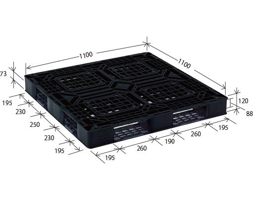 ≪送料無料≫プラスチックパレット JL-D4・1111E2 ブラック (1100×1100) (1枚のみ)