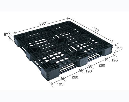 ≪東日本送り≫プラスチックパレット JL-D4・1111E6再生ブラック (1100×1100) (11枚~50枚コーナー)