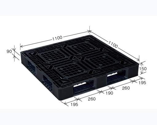 ≪送料無料≫プラスチックパレット JL-D4・1111L再生ブラック (1100×1100) (11枚~50枚コーナー)