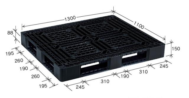 プラスチックパレット JL-D4・1311BK(ブラック) (1300×1100) (11~50枚) 1枚単価 ≪送料無料≫