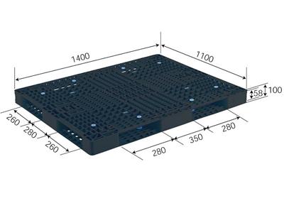 プラスチックパレット R4-1114-6 再生ブラック (1400×1100) (1~10枚) (送料2200円)