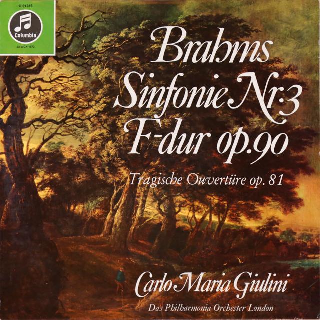 【独最初期盤】ジュリーニのブラームス/交響曲第3番  独Columbia 2806 LP レコード