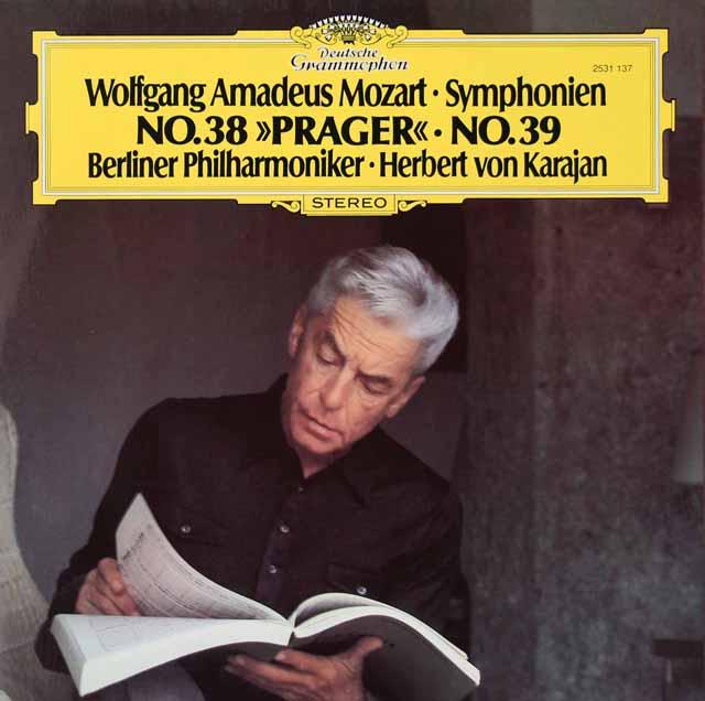 カラヤンのモーツァルト/交響曲第38番「プラハ」&39番 独DGG 3296 LP レコード