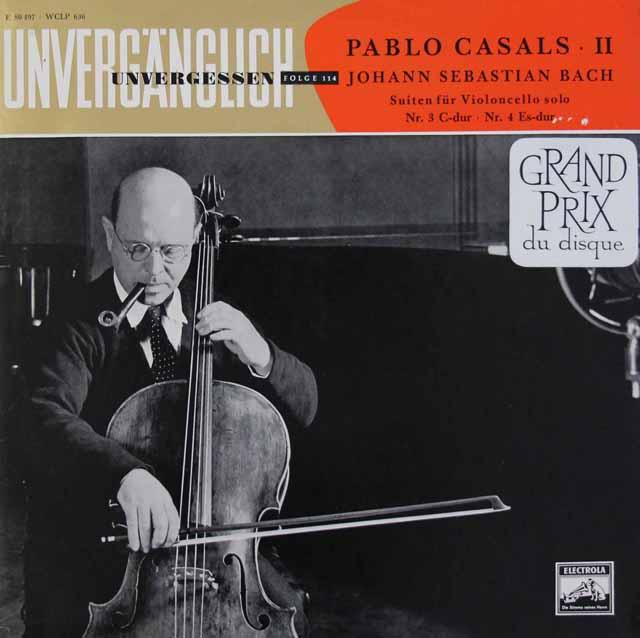 カザルスのバッハ/無伴奏チェロ組曲第3&4番 独EMI 3014 LP レコード