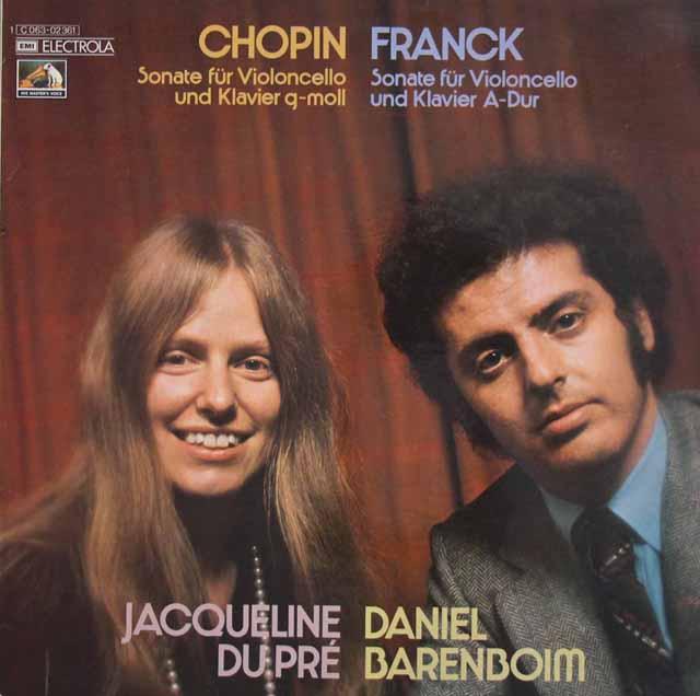 デュ・プレ&バレンボイムのショパン&フランク/チェロソナタ集  独EMI 3016 LP レコード