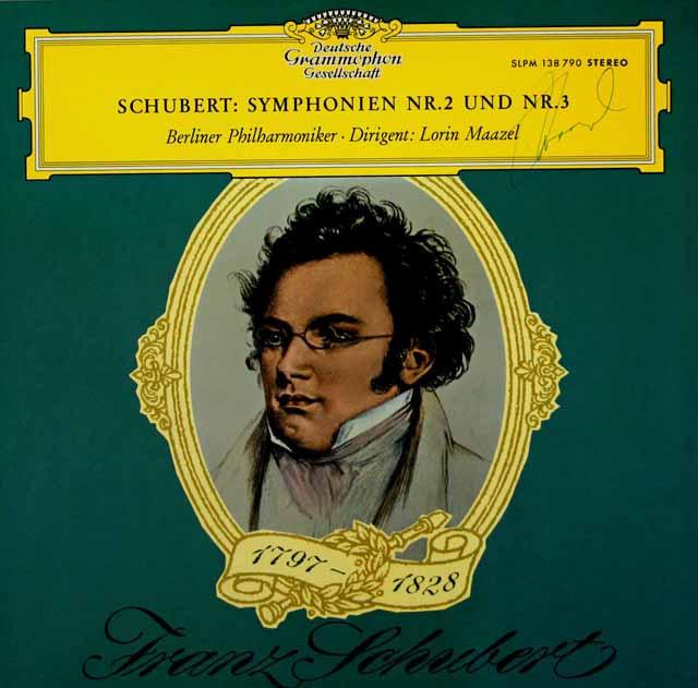 【直筆サイン入り、最初期盤】マゼールのシューベルト/交響曲第2番 & 3番  独DGG 3038 LP レコード