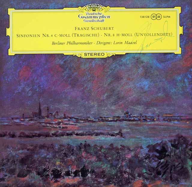 【直筆サイン入り】 マゼールのシューベルト/交響曲第4番「悲劇的」 & 8番「未完成」 独DGG 3038 LP レコード
