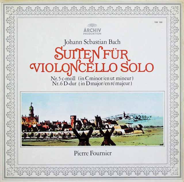 フルニエのバッハ/無伴奏チェロ組曲第5&6番 独ARCHIV 3043 LP レコード