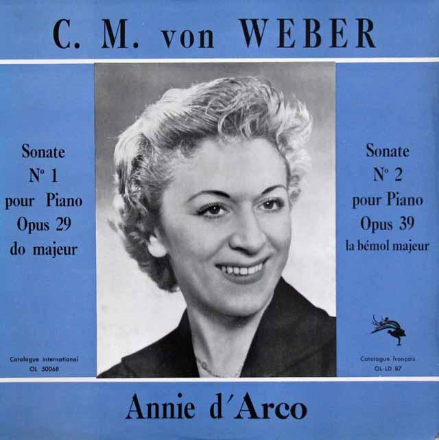 アニー・ダルコのウェーバー/ピアノソナタ集   英L'OISEAU-LYRE 3045 LP レコード