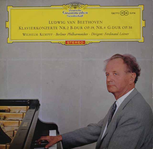 【赤ステレオ/ドイツ最初期盤】 ケンプ&ライトナーのベートーヴェン/ピアノ協奏曲第2&4番 独DGG 3106 LP レコード