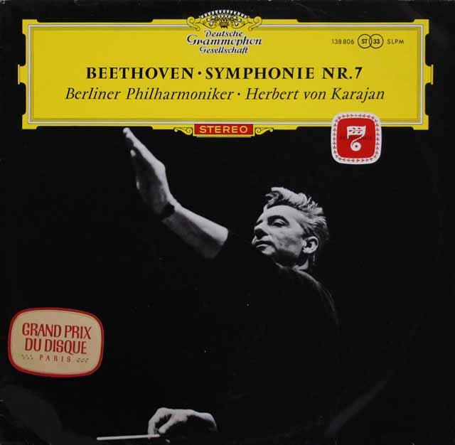 【赤ステレオ・オリジナル盤】カラヤンのベートーヴェン/交響曲第7番 独DGG 3113 LP レコード