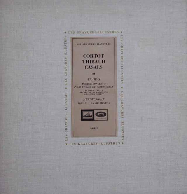 コルトー、ティボー&カザルスのブラームス/ヴァイオリンとチェロのための二重協奏曲ほか 仏EMI(VSM) 3114 LP レコード