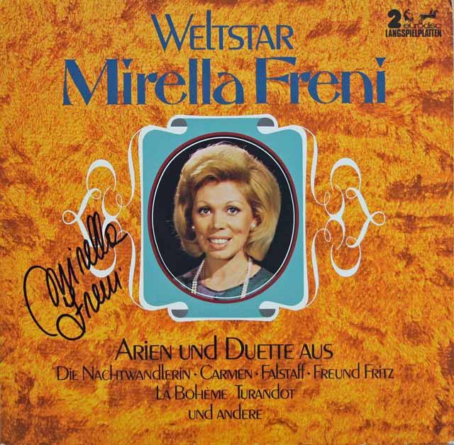 【直筆サイン入り】フレーニのオペラ・アリア、デュエット集 独eurodisc 3117 LP レコード