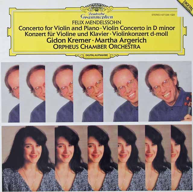 クレーメル&アルゲリッチのメンデルスゾーン/ヴァイオリンとピアノのための二重協奏曲ほか 独DGG 3125 LP レコード