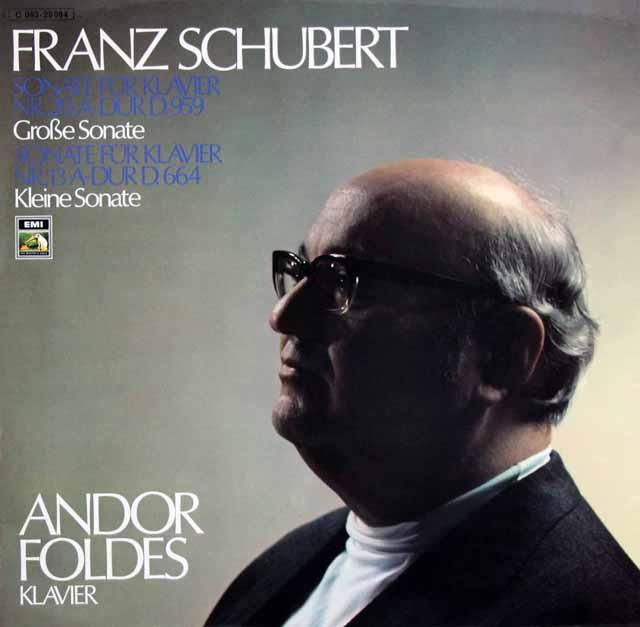 フォルデシュのスシューベルト/ピアノソナタ第20&13番 独EMI 3129 LP レコード