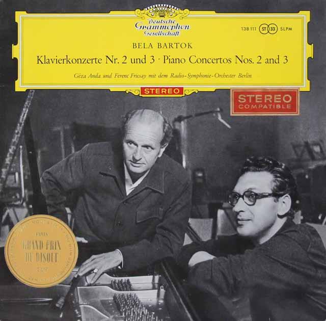【赤ステレオ】フリッチャイ&アンダのバルトーク/ピアノ協奏曲第2&3番 独DGG 3134 LP レコード