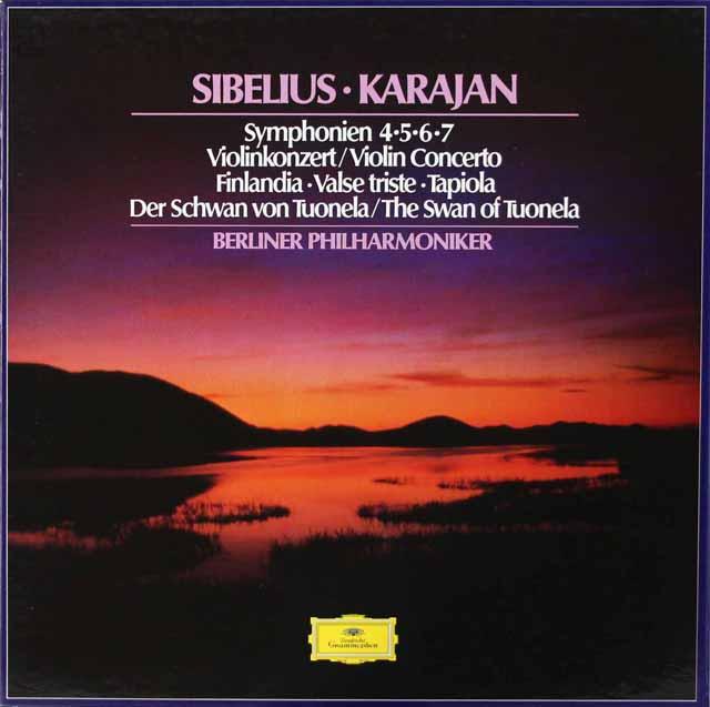 カラヤンのシベリウス/交響曲、管弦楽曲&協奏曲集 独DGG 3134 LP レコード