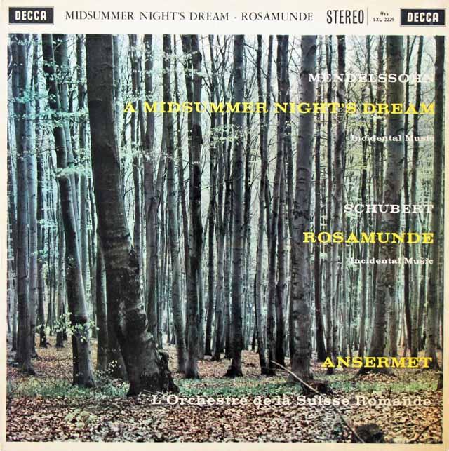 【オリジナル盤】アンセルメのメンデルスゾーン/「真夏の夜の夢」ほか 英DECCA 3134 LPレコード