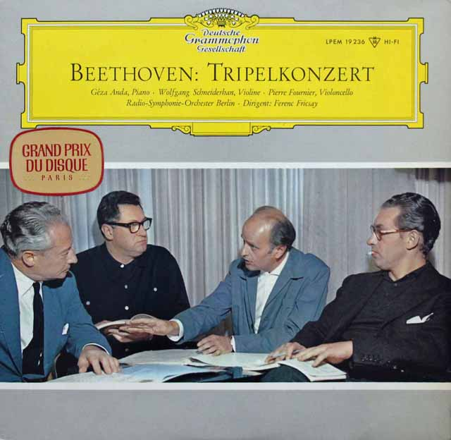 アンダ、シュナイダーハン、フルニエ & フリッチャイのベートーヴェン/三重協奏曲 独DGG 3143 LP レコード