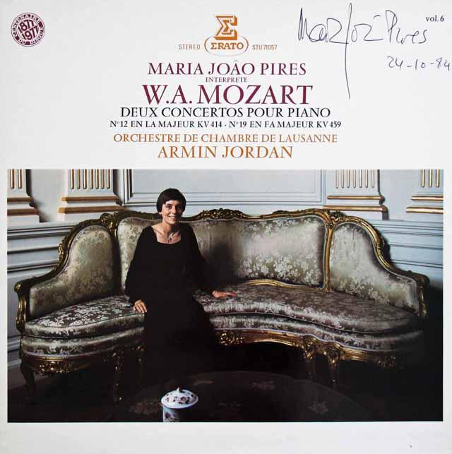 【直筆サイン入り】ピレシュ&ジョルダンのモーツァルト/ピアノ協奏曲第12 & 19番 仏ERATO 3145 LP レコード
