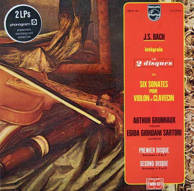 グリュミオー&サルトリのバッハ/ヴァイオリンとチェンバロのためのソナタ集 仏PHILIPS 3145 LP レコード
