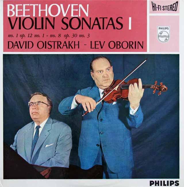 オイストラフ&オボーリンのベートーヴェン/ヴァイオリン・ソナタ第1&8番 蘭PHILIPS 3201 LP レコード