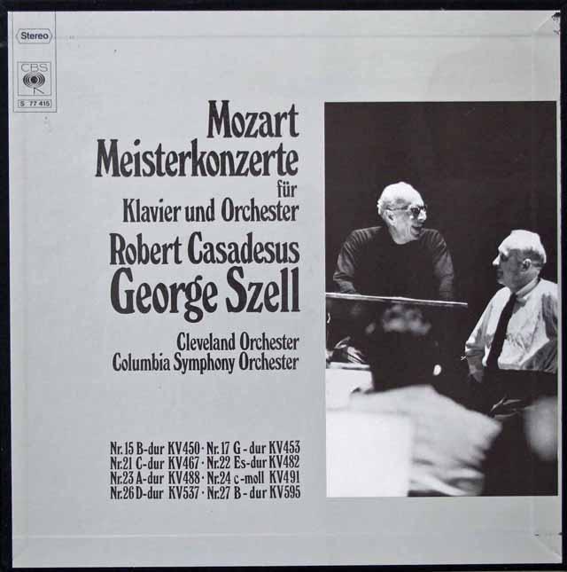 カサドシュ&セルのモーツァルト/ピアノ協奏曲集 独CBS 3201 LP レコード