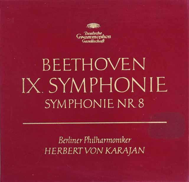 【赤ステレオ/独最初期盤】 カラヤンのベートーヴェン/交響曲第8&9番「合唱付き」 独DGG 3201 LP レコード