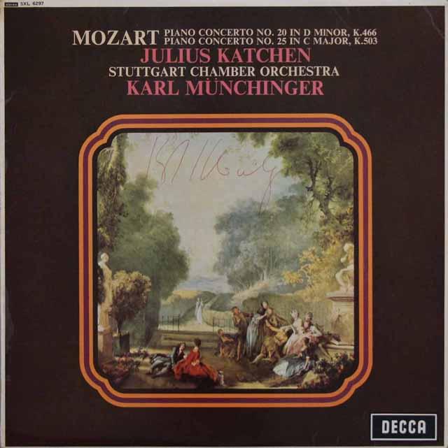 【直筆サイン入り】 カッチェン&ミュンヒンガーのモーツァルト/ピアノ協奏曲第20番、25番 英DECCA 3202 LP レコード