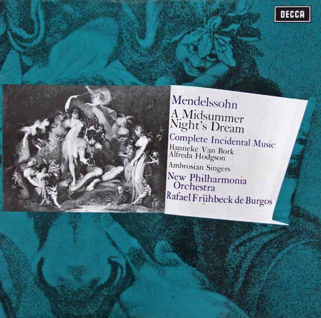 【オリジナル盤】デ・ブルゴスのメンデルスゾーン/「真夏の夜の夢」全曲 英DECCA 3206 LP レコード