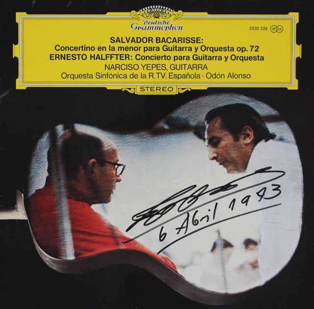 【直筆サイン入り】イエペス&アロンソのバカリッセ/ギター協奏曲 独DGG  3208 LP レコード