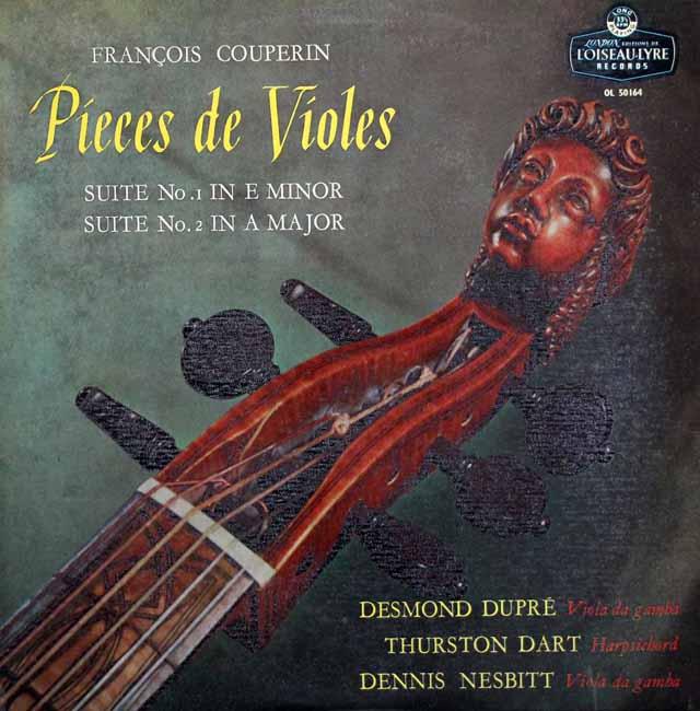 D.デュプレ、ダート、ネスビットのクープラン/ヴィオール曲集(組曲第1&2番) 英LONDON 3217 LP レコード