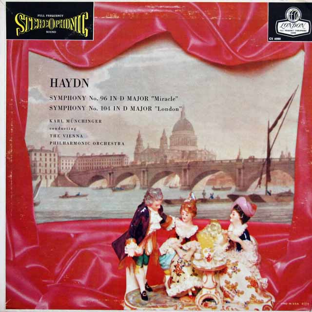 【オリジナル】 ミュンヒンガーのハイドン/交響曲第96番「奇跡」&第104番「ロンドン」 英LONDON 3226 LP レコード