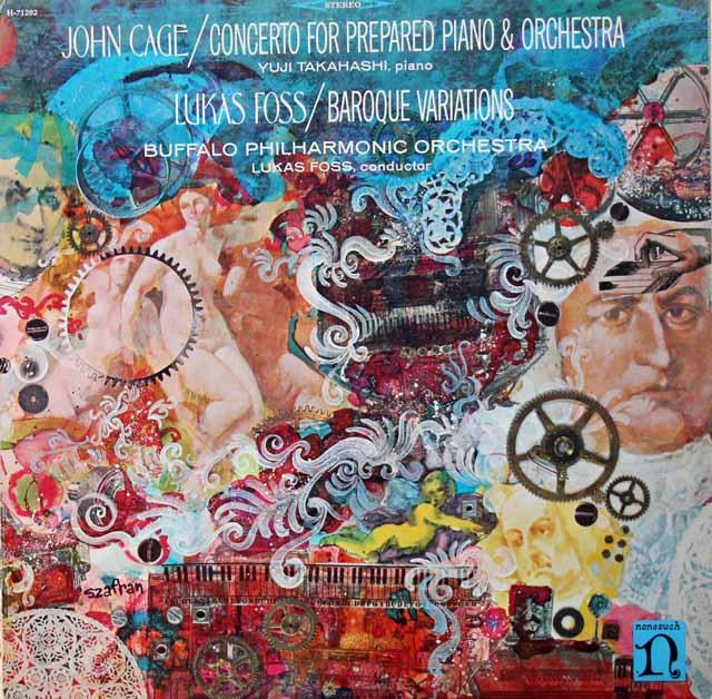 高橋悠治のケージ/プリペアドピアノ協奏曲、フォス自作自演/バロック・ヴァリエーションズ 米nonsuch 3270 LP レコード